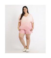 pijama feminino plus size degradê manga curta coral
