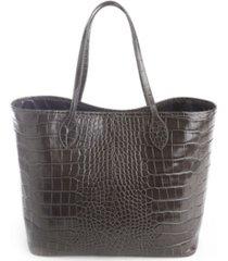 royce new york croc-embossed wide tote bag wristlet
