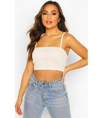 petite rib square neck crop top, ecru