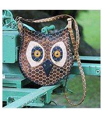 leather shoulder bag, 'amazon owl' (brazil)