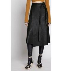 proenza schouler leather wrap skirt black 8