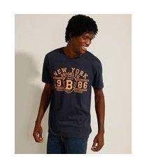 """camiseta de algodão new york 1986"""" manga curta gola careca azul marinho"""""""