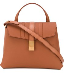 agnona py amber-gold buckle tote bag - black