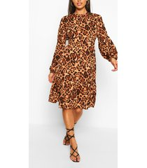 animal print long sleeve midi smock dress, brown