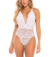 women's high leg galloon lace teddy with multi-strap back detail