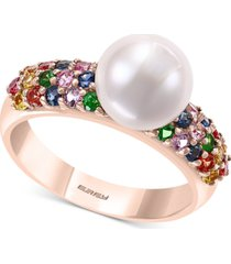 effy multi-gemstone (7/8 ct. t.w.) & cultured freshwater pearl (8mm) statement ring in 14k rose gold