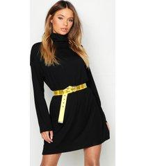 geribbelde mini jurk met col en lange mouwen, zwart