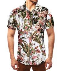 camisa de vacaciones de verano con flores tropicales para hombres