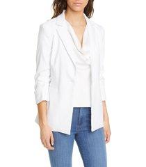 women's alice + olivia jonelle peplum linen blend blazer