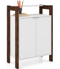 armário baixo multiuso tecno mobili 2 portas prateleiras branco e nogal