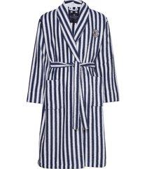 striped cotton-mix terry robe morgonrock badrock blå lexington home