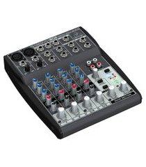 mesa de som behringer xenyx 802 8 inputs e 2 bus mixer cinza
