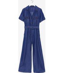 womens short sleeve belted denim jumpsuit - blue