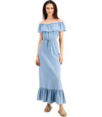style & co petite cotton chambray off-the-shoulder maxi dress, created for macy's