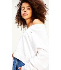tommy hilfiger women's organic cotton v-neck sweatshirt white - l