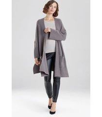 natori chunky knit sweater cardigan jacket, women's, brown, size l natori