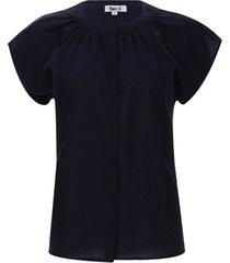blusa mujer con recogido color azul, talla 14