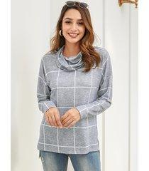 camiseta de manga larga holgada y drapeada a cuadros con diseño de hendidura gris yoins