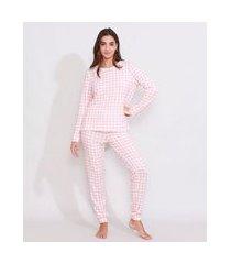 pijama feminino manga longa amplo estampado xadrez vichy rosa