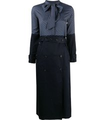 rokh scarf-neck trench style dress - blue