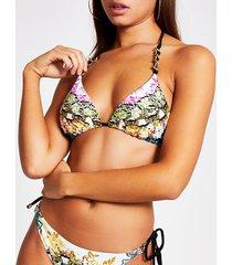 river island womens yellow printed chain strap bikini top