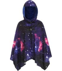 galaxy print belted hooded cape cardigan
