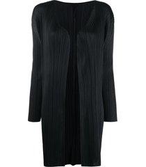 issey miyake ribbed open front coat - black