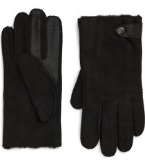 men's ugg genuine shearling lined leather tech gloves, size x-large - black
