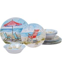 certified international ocean view melamine 12-pc. dinnerware set