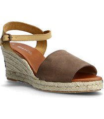 biadara suede espadrille sandalette med klack espadrilles brun bianco