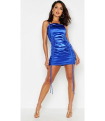 strappy stretch satin ruched mini dress, cobalt