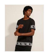 """camiseta de algodão take your time"""" manga curta gola careca preta"""""""