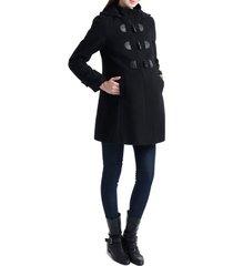 women's kimi and kai paisley wool blend maternity duffle coat, size large - black