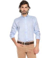 camisa azul preppy ml cfit unicolor bd