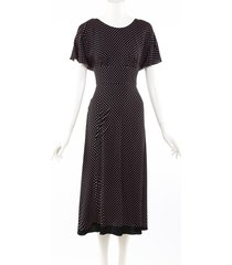 prada black pink polka dot open back midi dress black/pink sz: s