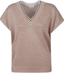 brunello cucinelli glitter applique v-neck sweatshirt