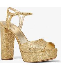 mk sandalo addie con plateau e glitter - oro pallido (oro) - michael kors
