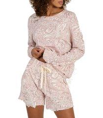 women's n:philanthropy coco pattern shorts, size medium - pink