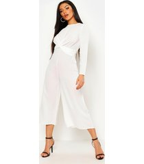knot front woven culotte jumpsuit, ivory