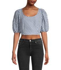 free people women's polka dot puff-sleeve crop top - dusty blue - size 10