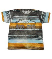 camiseta ano zero meia malha flamê estampada superior materials marrom