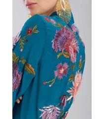couture fringe floral robe, women's, green, 100% silk, size xs/s, josie natori