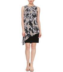 sl fashions asymmetrical-popover sheath dress