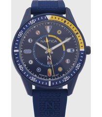 reloj azul-amarillo nautica