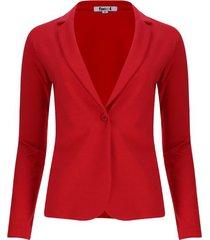 chaqueta tipo blazer unicolor color rojo, talla l