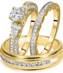 lab-created diamond his & her bridal & groom trio ring set 14k yelllow gold fn