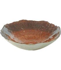 centro de mesa dunya vidro chocolate infinity 33cm marrom - tricae