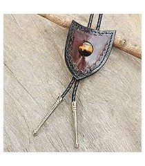tiger's eye and leather bolo tie, 'earth shield' (thailand)