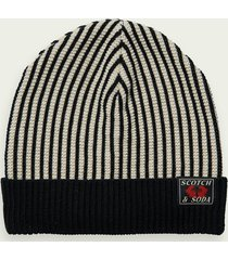 scotch & soda striped knitted beanie