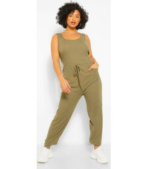 plus scoop neck jogger jumpsuit, khaki